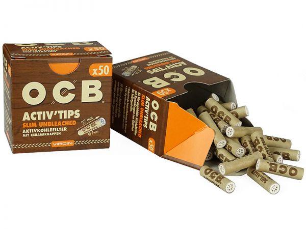OCB - Active Tips Slim Unbleched 50er