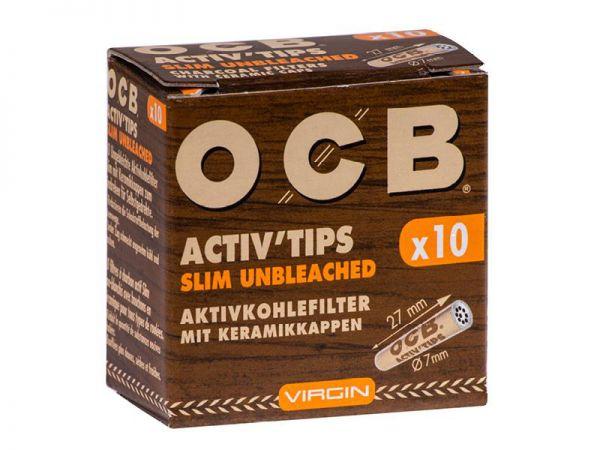 OCB - Active Tips Slim Unbleched 10er